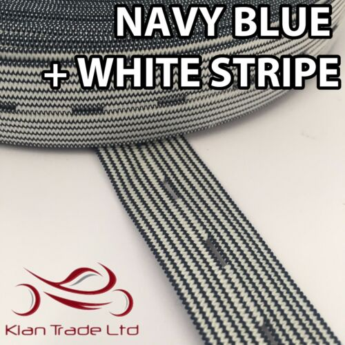 """BLUE LINED 19MM BUTTON HOLE KNIT ELASTIC WOVEN TAPE WAISTBANDS TROUSER 3//4/"""""""