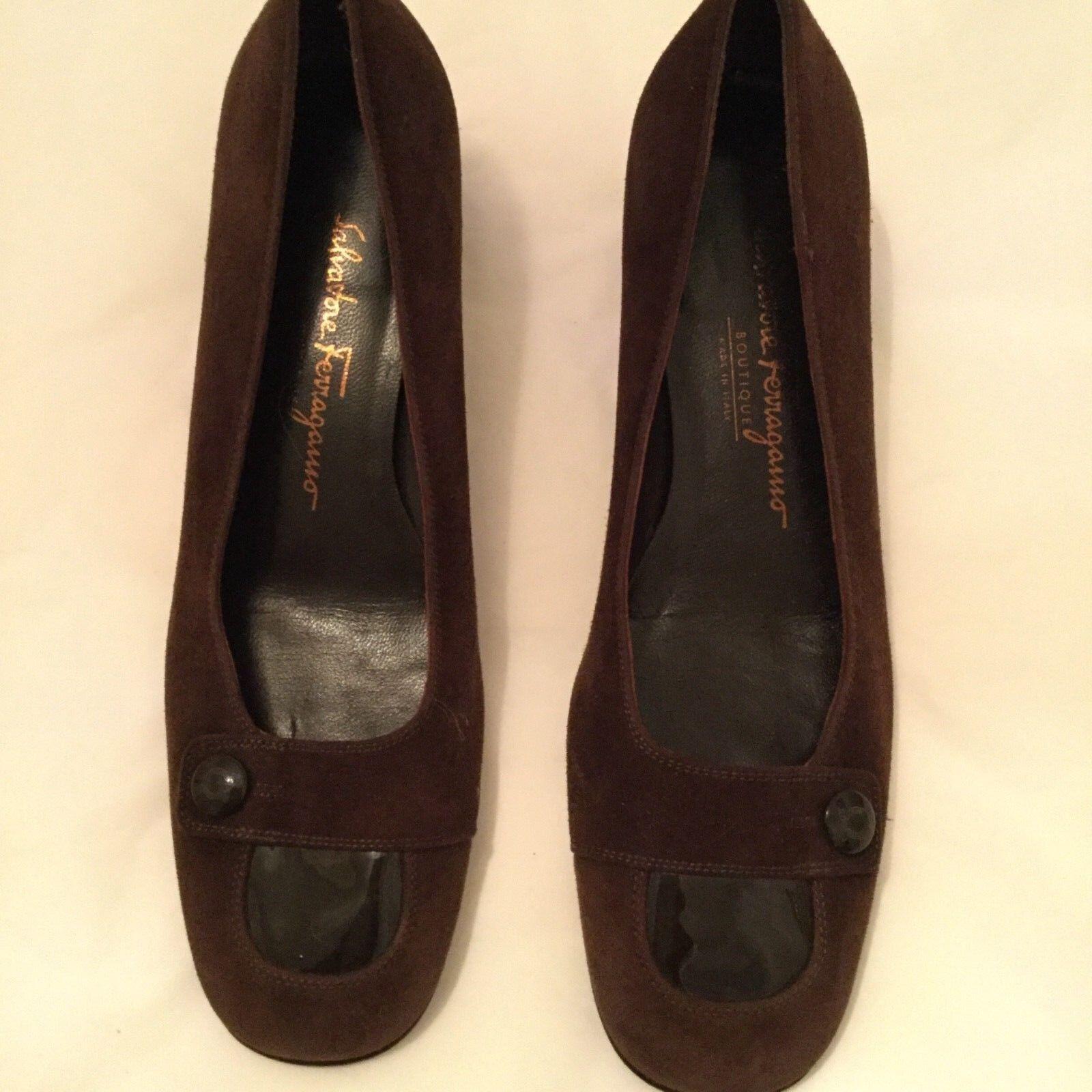 NEW Salvatore Ferragamo braun Suede w  Patent Leather Accents Flats - 6.5B