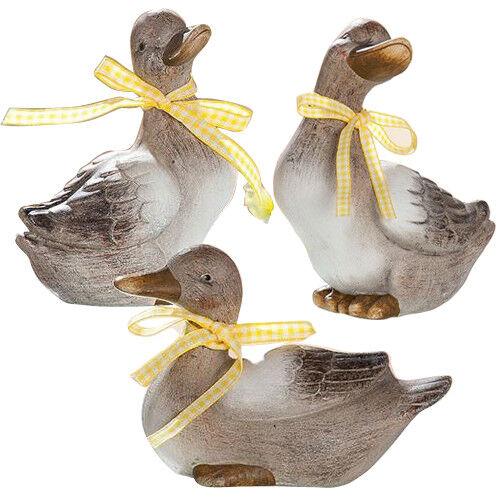 Gilde Deko Ente Daisy braun beige mit Schleife gelb Keramik 3er Set oder 2er Set