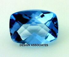 LONDON BLUE TOPAZ 8X6 MM CUSHION CUT CHECKERBOARD TOP AAA FANCY CUT