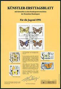 BRD-KUNSTLER-ETB-1991-14-JUGEND-SCHMETTERLINGE-KUNSTLER-ERSTTAGSBLATT-LTD