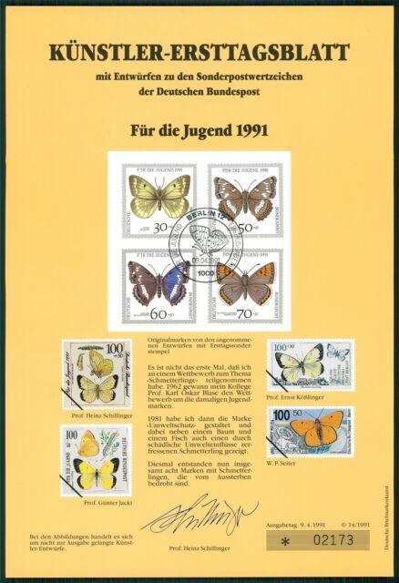 BRD KÜNSTLER-ETB 1991/14 JUGEND SCHMETTERLINGE KÜNSTLER-ERSTTAGSBLATT LTD.