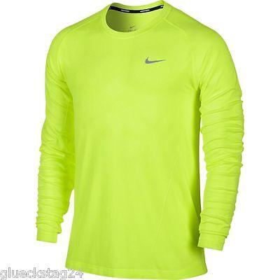 Nike Running Shirt DriFit KNIT LS neongelb NEU Herren langarm 596177 Trikot | eBay