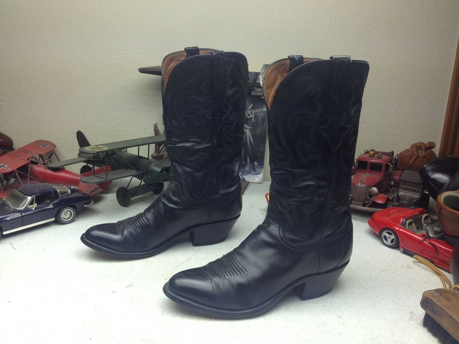 1991 DISTRESSED LUCCHESE nero EURO-GOAT LEATHER TRAIL BOSS RANCH WORK stivali 8 D