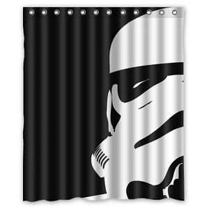 Black white fabric waterproof star wars movie stormtrooper for Star material for curtains