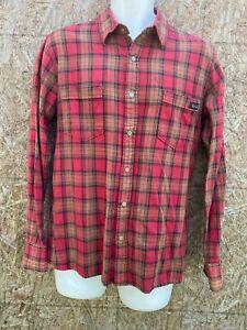 Paul Frank Plaid Flannel Button Up Lumberjack Shirt Mens Medium red  black