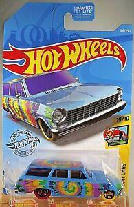 2019-Hot-Wheels-188-HW-Art-Cars-10-10-039-64-CHEVY-NOVA-WAGON-Blue-w-Yell-Purp-Whl