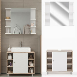 vicco bad set fynn eiche sonoma spiegel waschbecken unterschrank badschrank ebay. Black Bedroom Furniture Sets. Home Design Ideas