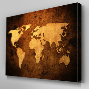 Ab092 sepia leather world map canvas wall art ready to hang picture image is loading ab092 sepia leather world map canvas wall art gumiabroncs Gallery