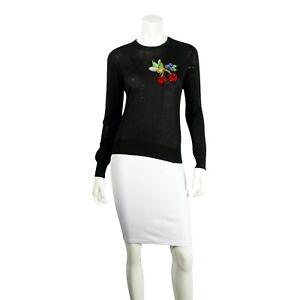 DOLCE-amp-GABBANA-Black-Silk-Long-Sleeve-Sweater-Cherry-Sequin-Applique-US-Small
