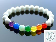 White Frosted Chakra Natural Gemstone Bracelet 7-8'' Elasticated Healing Stone