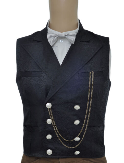 Cool Black Jacquard Double Breasted Fashion Steampunk Waistcoat