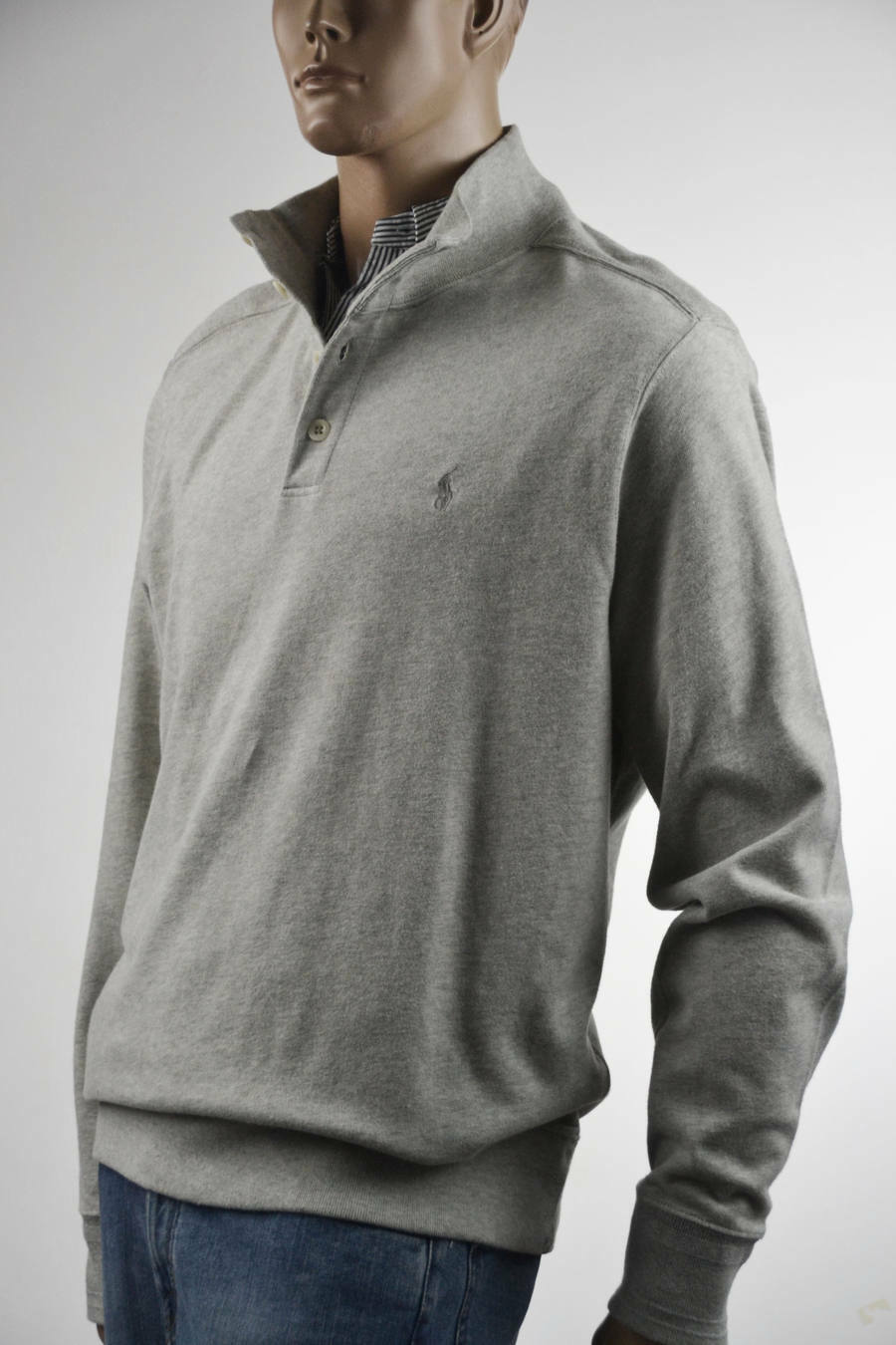 Ralph Lauren grau Half-Buttoned Cotton Sweater Sweatshirt grau Pony -XXlarge-NWT