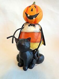 "JACK O LANTERN MAN Figurine 4.5"" Candy Corn Body with Black Cat Resin Halloween"