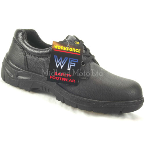 GS2-P WORKFORCE Steel Toe Cap Black Leather Safety Shoes Size 3-14