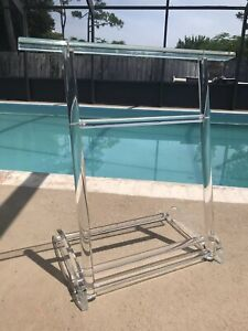 Mid-Century-Scheibe-LUCITE-Folding-Towel-Blanket-Rack-Hollywood-Regency-Decor