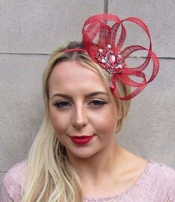 Red Silver Sinamay Feather Fascinator Hair Band Headband Races Cocktail Vtg 5095