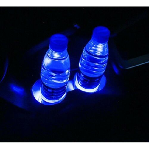 Auto USB LED Tasse Flaschenhalter Bottom Pad Cover Mat Atmosphäre Hellblau SUV