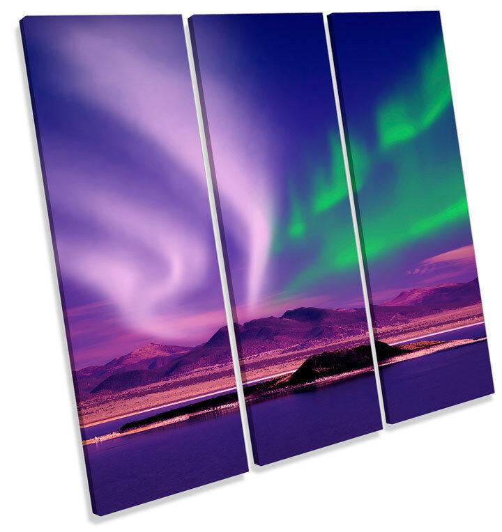 Lo spazio Northern Lights NOTTE TREBLE TELA parete arte foto foto foto stampa quadrato 75bd69