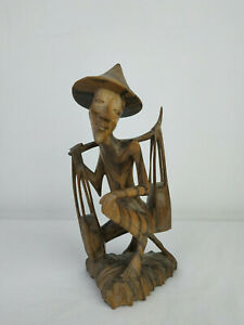 Wooden-Vintage-figurine-Chinese-Wood-Hand-Carved-Sculpture-Figure
