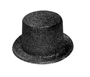 Nera-Glitter-Lincoln-Top-Cappello-Addio-Al-Celibato-Mago-Circo-Costume-Festa-025