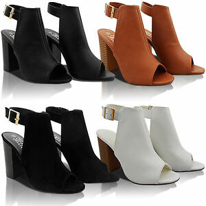 NEW-LADIES-MID-BLOCK-PEEP-TOE-OPEN-BACK-STRAP-CUT-OUT-ANKLE-BOOTS-SHOE-SIZE