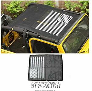 Eclipse-Full-Cover-Sun-Shade-for-Jeep-Wrangler-TJ-1997-2006-Rugged-Ridge-US-Flag