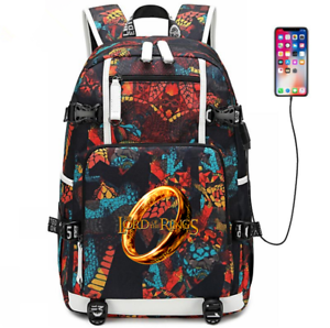 The Lord of Rings Backpack teenagers Schoolbag USB Charge Laptop Travel Bag