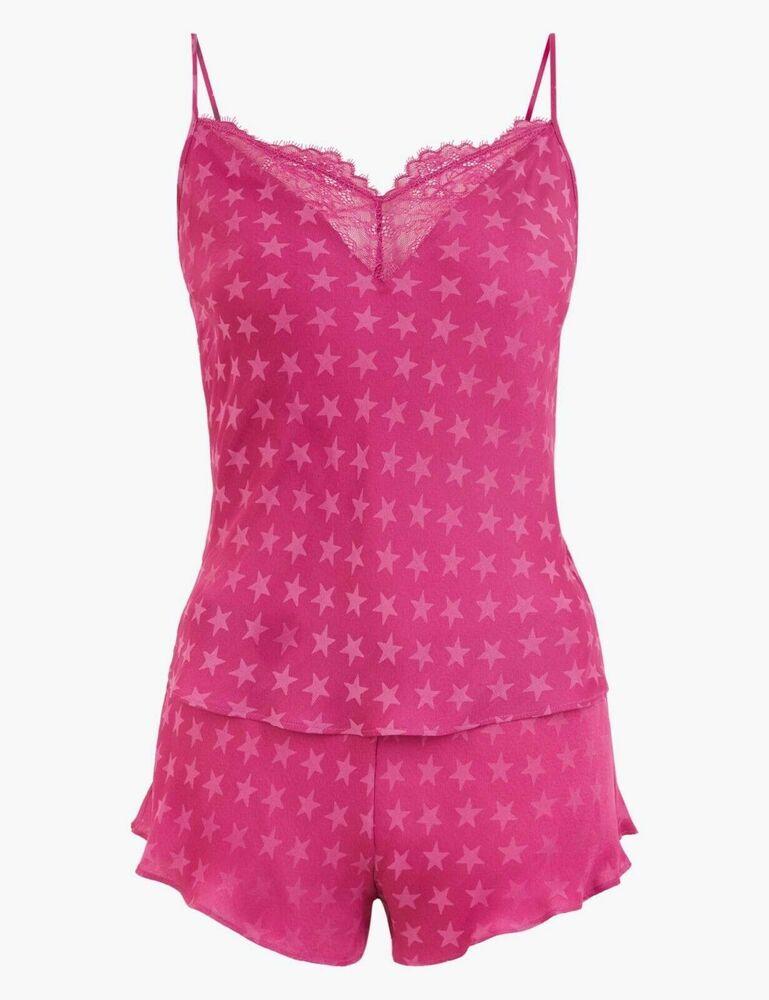 * Nouveau * M&s Cami Set Star Pyjamas Rose Magenta. Taille 18 Bnwt Rp £ 20.00