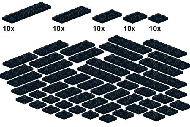 Lego - Bricksy's Bascis - Black - B24 - Platten schwarz - breit