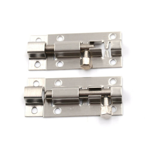 "2 Pcs Silver Tone Door Lock Latch Slide Barrel Bolt Clasp Set 2/"" Lon KW"
