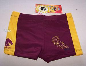 4133aba5cb Brisbane Broncos NRL Boys Maroon Printed Swim Trunk Bathers Size 3 ...