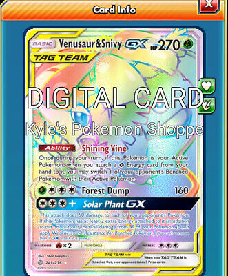 Venusaur /& Snivy GX TAG TEAM ULTRA RARE 1//236 SM Cosmic Eclipse Pokemon HOLO NM