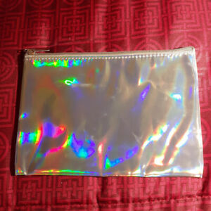 Judescent-Cosmetic-Bag-Silver-Holographic-Makeup-Bag-NEW-Full-Size-NWT