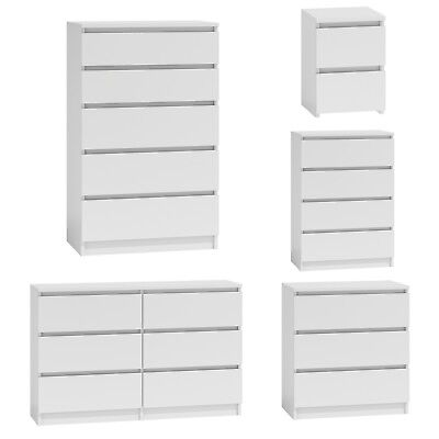 Chest of Drawers White Bedroom Furniture Hallway Tall Wide Storage 3 ...
