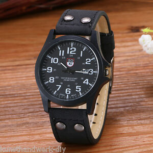 Herren-Uhr-Armbanduhr-Quarzuhr-Analog-Lederarmband-Watch-Schwarz-26cm-Geschenk