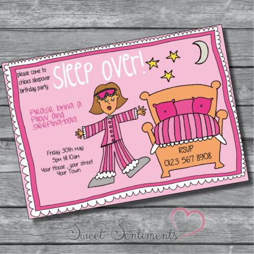 Personalised Kids  Sleepover Birthday Party Invites  Invitations /& Envelope 12