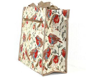 Signare Gobelin Shopper Vogel Rotkehlchen Robin Einkaufstasche Einkaufbeutel