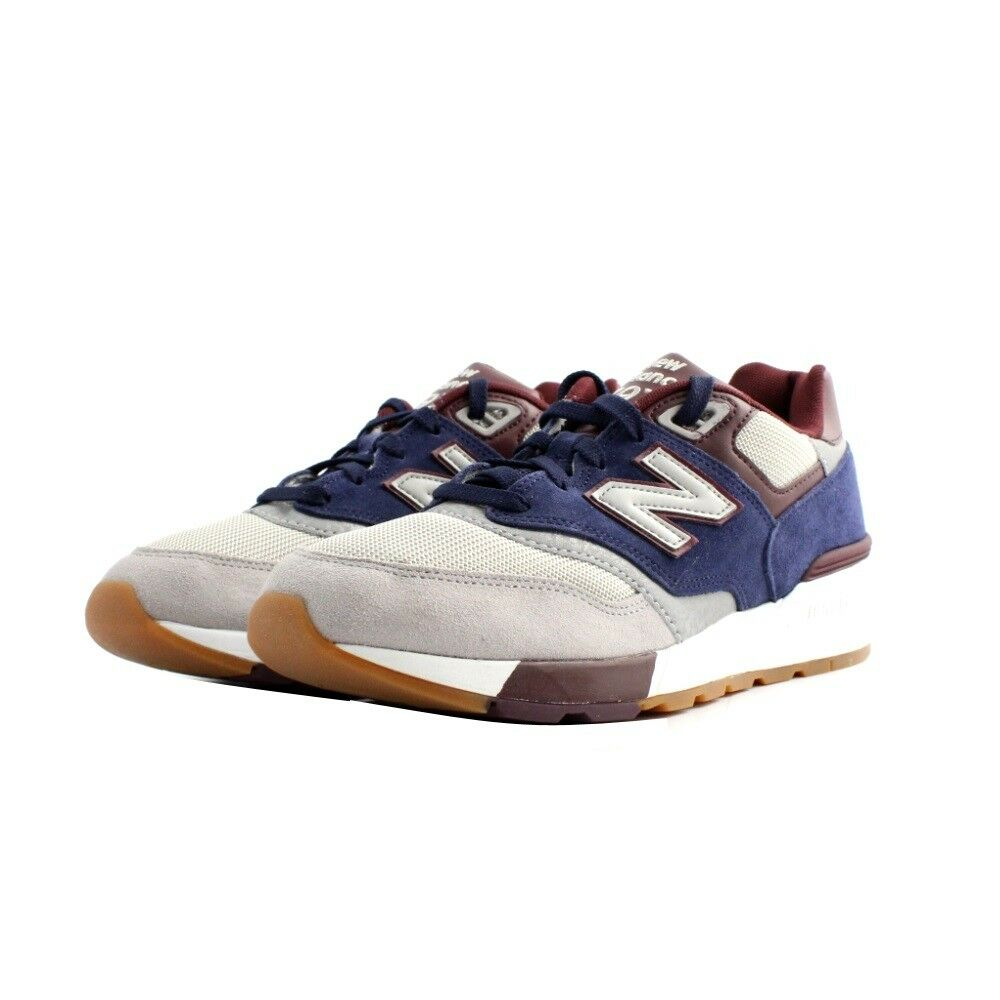 shoes Sneakers New Balance ML597GNB man suede fabric grey purple burgundy