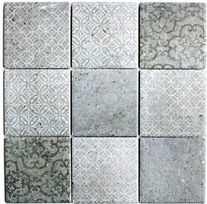 Graue Zement Fliesen Optik Keramikmosaik Fliesenspiegel Küche 22-CELLO 10Matten