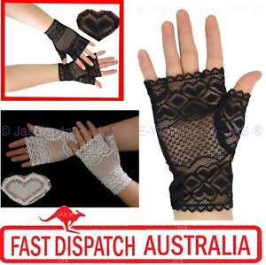 80s-70s-20s-Party-Fingerless-Goth-Gothic-Punk-Sheer-Lace-Stretch-Cuff-Gloves