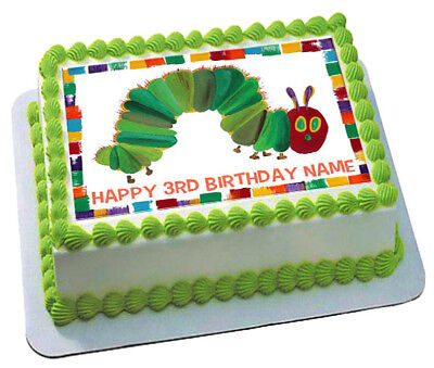 Admirable Edible The Very Hungry Caterpillar Cake Topper Birthday Wafer Personalised Birthday Cards Veneteletsinfo