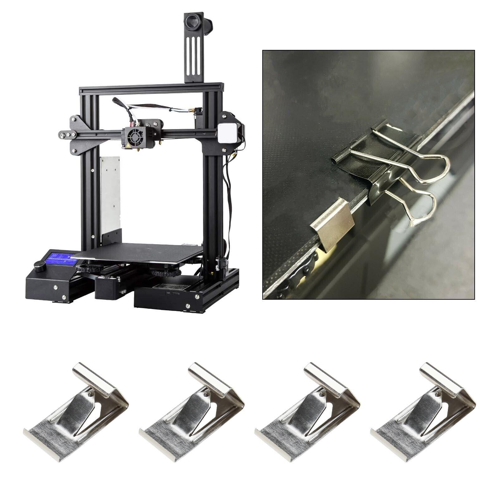 50x/100x 3D Printing Hot Bed Glass Platform Fixation Fix Clamp Clip Silver Tone