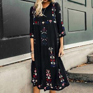 VONDA-Women-Floral-Print-3-4-Sleeve-Long-Dress-Oversized-Loose-Midi-Shirt-Dress