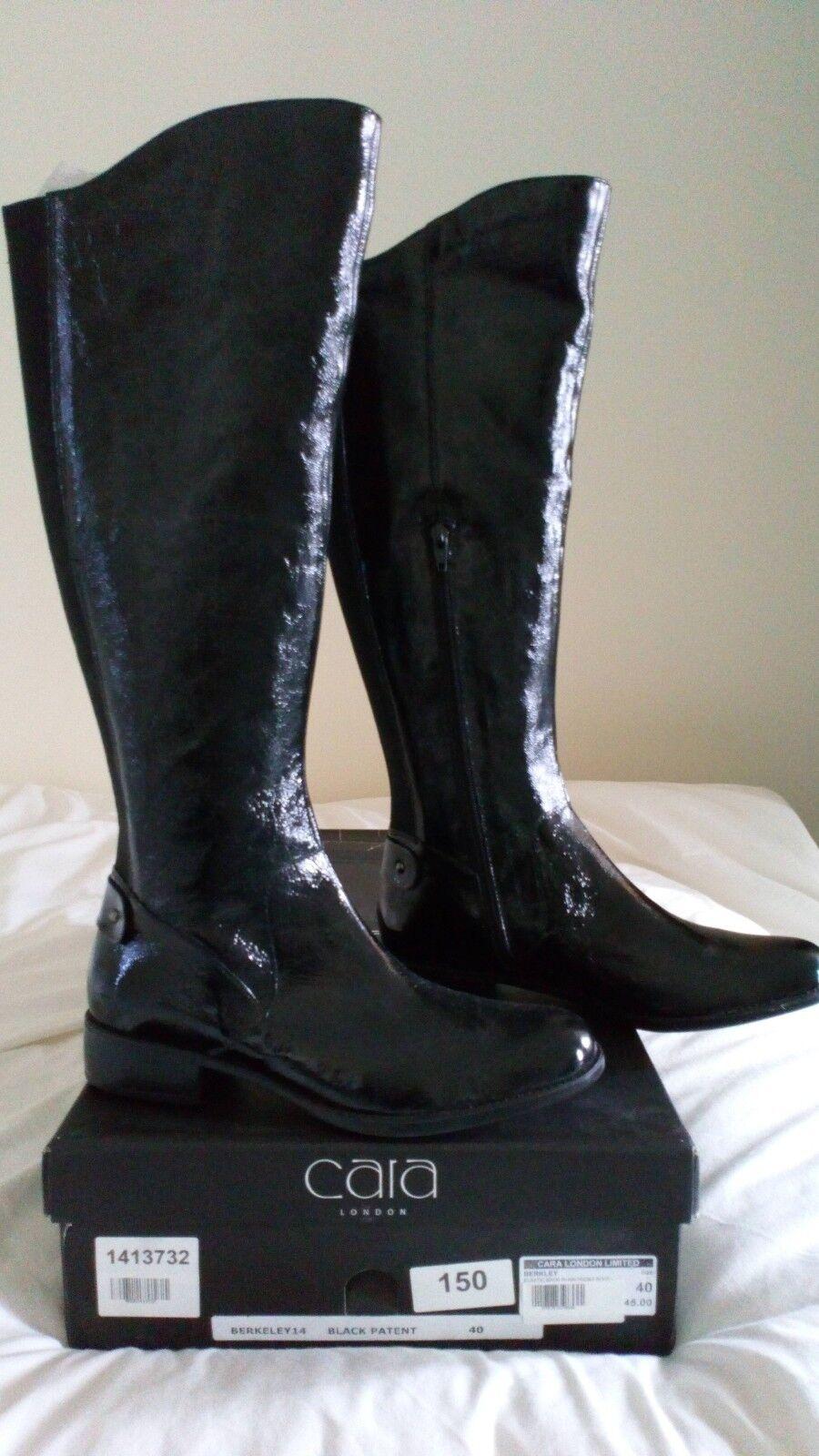 Stivali in vernice nera cara London Taglia 40 NUOVO con scatola prezzo consigliato