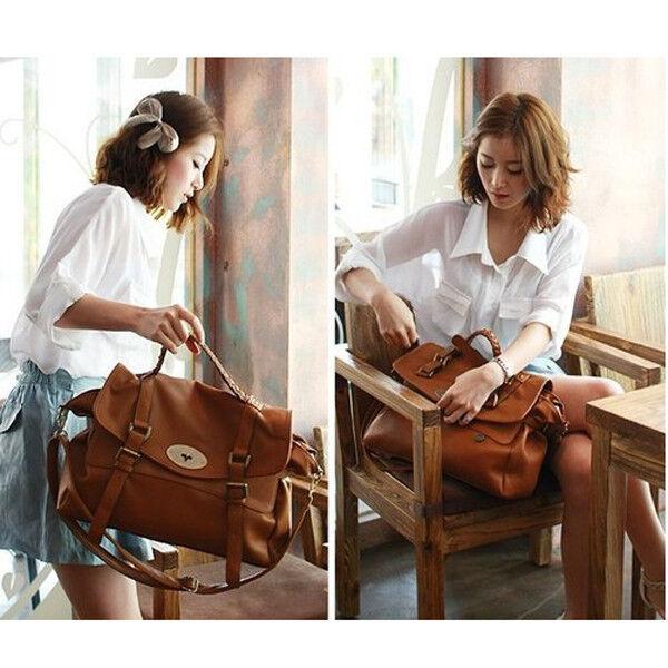 Las Womens Pu Leather Style Satchel Office Laptop Bag Breifcase Handbag
