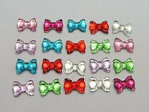 200-Mixed-Color-Flatback-Bowknot-Bows-Rhinestone-Gems-10X7mm-Embellishments