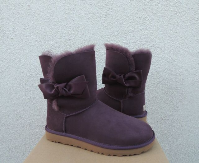 fae4f9c1ca8 UGG Port Daelynn Bailey Leather Bow Suede/ Sheepskin BOOTS US 10/ EUR 41