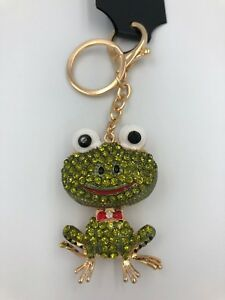 Image is loading Funky-Green-Frog-Diamante-Keyring-Rhinestone-handbag-Charm- e39076620