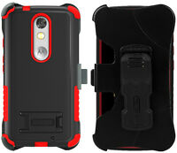 Red Tri-shield Rugged Case + Belt Clip Holster Stand For Motorola Droid Turbo 2 on sale